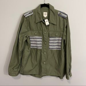 GAP Army Green Embroidered Military Jacket